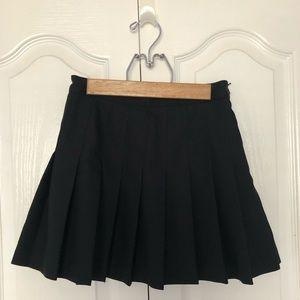 American Apparel Black Pleated Mini Skirt